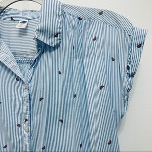 Old Navy Pinstripe Shirt with Watermelon Print